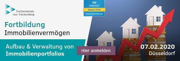Fortbildung Immobilienvermögen (inkl. § 15 FAO für FA Steuerrecht sowie Miet- & WEG-Recht, 07.02.2020). Hier informieren und anmelden!