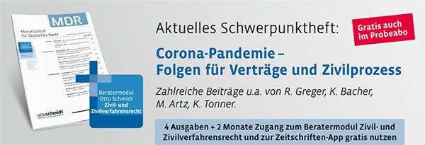 Probeabo Monatsschrift für Deutsches Recht - MDR. Hier kostenlos kennenlernen!